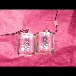 Noir Pink Crossbone Barbie Earrings